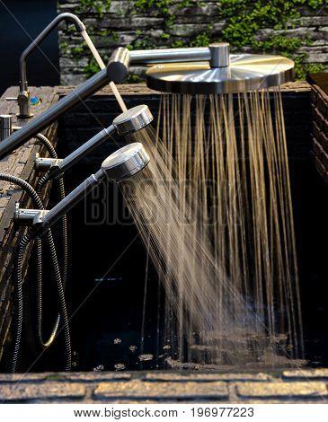 Test running water of variety shower heads