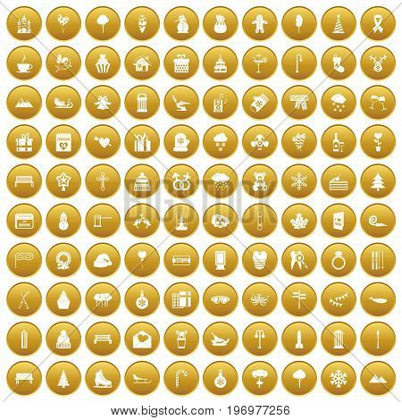 100 winter holidays icons set in gold circle isolated on white vector illustration