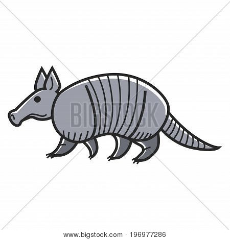 Vector illustration of gray colored armadillo animal isolated on white.