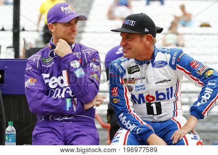 July 22, 2017 - Speedway, IN, USA: Denny Hamlin (11) and Clint Bowyer (14) hang out on pit road before qualifying for the Brickyard 400 at Indianapolis Motor Speedway in Speedway, IN.