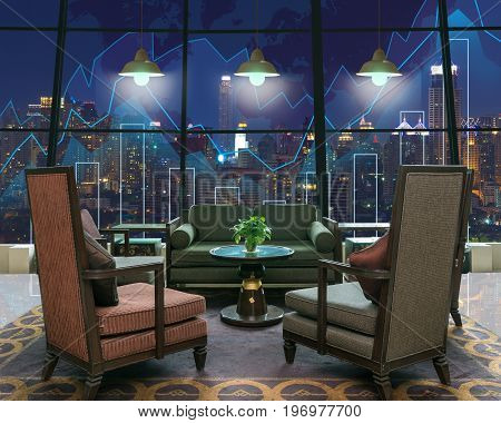 Lobby area of a hotel which can see Trading graph on the cityscape at night and world map backgroundBusiness financial concept