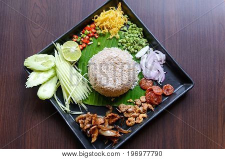 Thai Food - Rice Mixed With Shrimp Paste (kao Cluk Ka Pi) With Side Dish As A Mango, Lemon, Chili, C