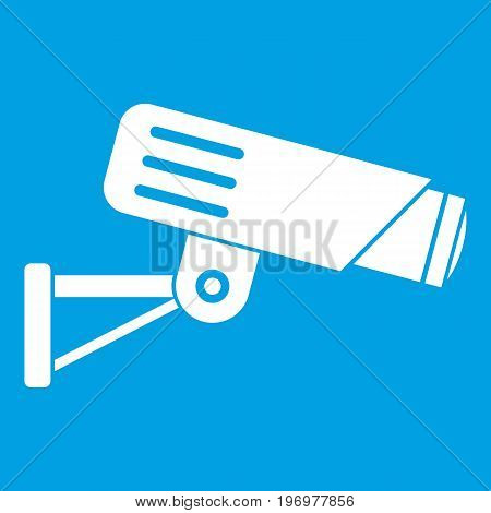 Security camera icon white isolated on blue background vector illustration