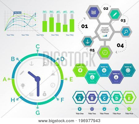Infographic design set can be used for workflow layout, diagram, annual report, presentation, web design. Business and logistics concept with process, timing, bar and line charts.