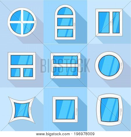 Different windows icons set. Flat set of 9 different windows vector icons for web with long shadow
