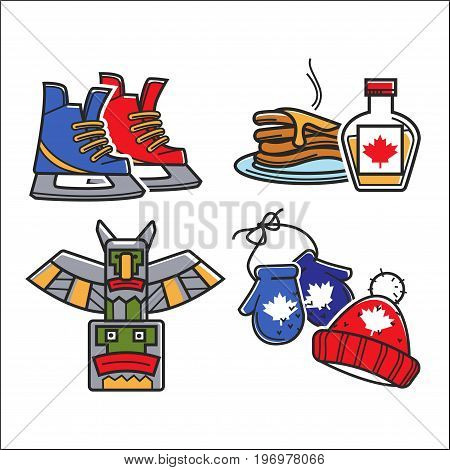 Canadian traditional symbols of tourist attractions and national culture. Hockey ice skates, pancakes in maple syrup, winter knitted mittens and hat or indigenous Indian icons for travel attractions