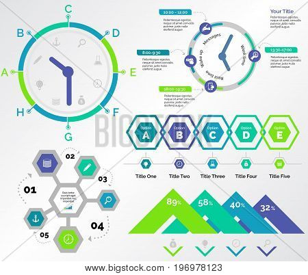 Infographic design set can be used for workflow layout, diagram, annual report, presentation, web design. Business and logistics concept with process, timing and percentage charts.