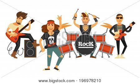 Rock band musicians and singers playing musical instruments on stage. Vector flat icons of rocker man in bandana on drum percussion, guitarist with loudspeaker for live concert or party festival
