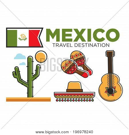 Mexican travel symbols or tourist attractions of Mexico traditional culture. Flag and musical instruments guitar ukulele and maracas, sombrero hat and agave cactus. Vector flat outline icons set