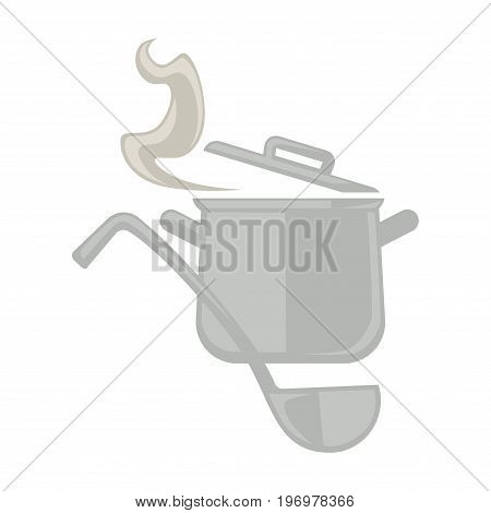 Vector illustration of metal pot with steam and big serving spoon isolated on white.