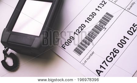 Closeup of Barcode Scanner Devices and Label