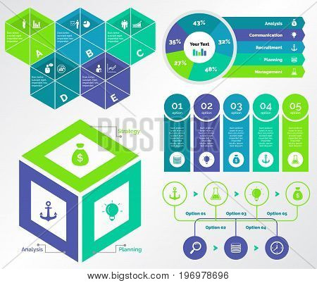 Infographic design set can be used for workflow layout, diagram, annual report, presentation, web design. Business and marketing concept with process and doughnut charts.