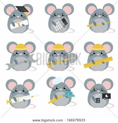 Vector Set Of Mice Various Professions: Scientist, Accountant, Teacher, Engineer, Worker, Builder, D