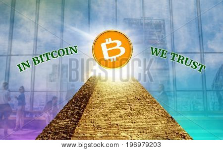 Bitcoin Cryptocurrency secured chain In god we trust concepta