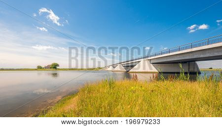 Modern bridge in a Dutch nature reserve on a sunny day in the summer season.