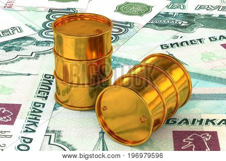 3d illustration: Golden barrels of oil lie on the background of ruble, rouble money. Petroleum business, black gold, gasoline production. Purchase sale, auction, stock exchange. Russian government.