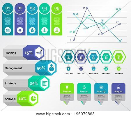 Infographic design set can be used for workflow layout, diagram, annual report, presentation, web design. Business and statistics concept with process, line and percentage charts.