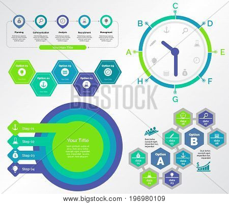 Infographic design set can be used for workflow layout, diagram, annual report, presentation, web design. Business and teamwork concept with process and timing charts.