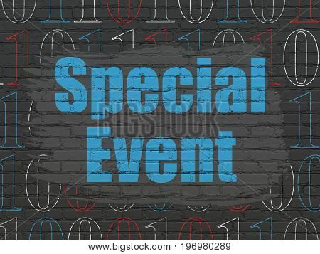Business concept: Painted blue text Special Event on Black Brick wall background with  Binary Code