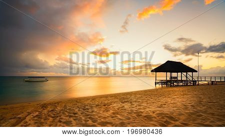 Beautiful sunset in Mauritius Island with Jetty silhouette