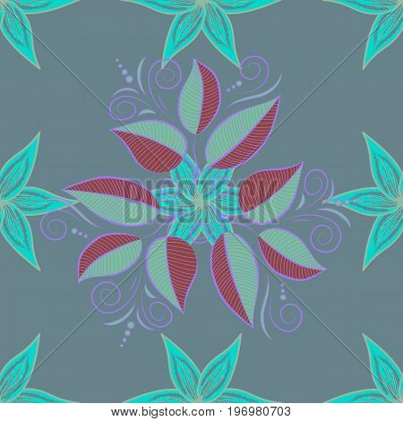 Vector pattern. Gentle spring floral on colored background. Exploding leaves abstractly placed. Vector illustration.