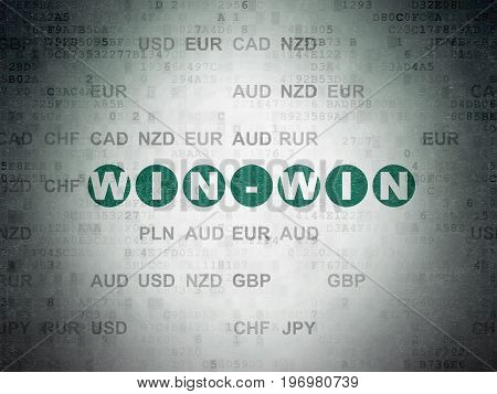 Finance concept: Painted green text Win-Win on Digital Data Paper background with Currency
