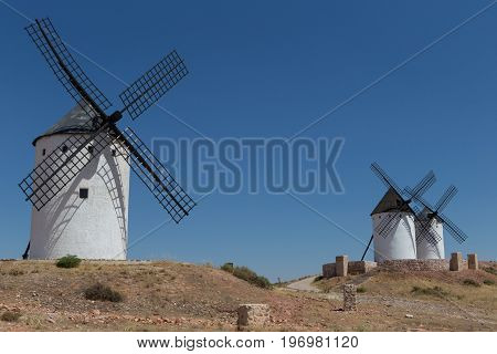 Windmilsl near Alcazar de San Juan Castile region Spain