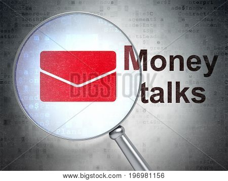 Finance concept: magnifying optical glass with Email icon and Money Talks word on digital background, 3D rendering