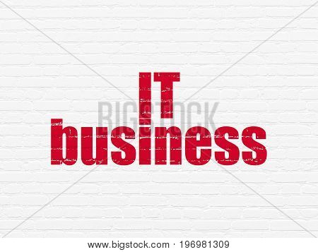 Business concept: Painted red text IT Business on White Brick wall background