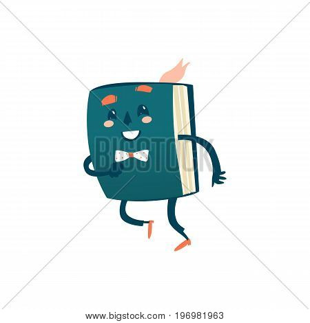 Vector cartoon smiling happy humanized book with arms and face emotions. Happy , smiling character dashing. Flat isolated illustration on a white background. Back to school concept