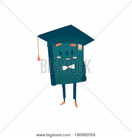 Vector cartoon humanized book with arms and face emotions in bowtie and academic cap. Flat isolated illustration on a white background. Back to school concept
