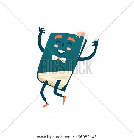 Vector cartoon humanized book. Happy , smiling character with arms and face emotions in bowtie jumping. Flat isolated illustration on a white background. Back to school concept