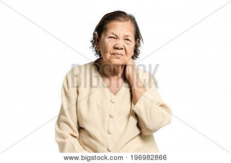 Portrait Of A Senior Woman Having A Neck Pain. Isolated On White Background With Clipping Path