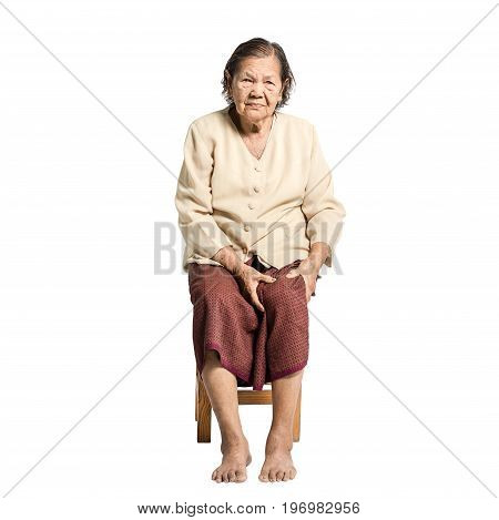Portrait Of A Senior Woman Having A Knee Pain. Isolated On White Background With Clipping Path