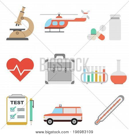 Vector flat medicine icons set. Medical test, pills, heart and test tubes. Microscope, ambulance car and helicopter, doctor suitcase, thermometer