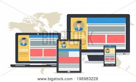 Vector illustration. Responsive web design on monitors of various devices. The different location of the site content on computer, laptop, tablet and smart phone in flat style