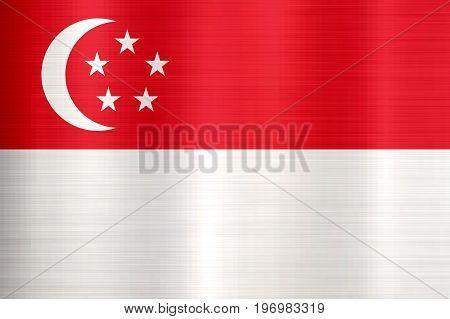Flag of Singapore metallic texture country  nation