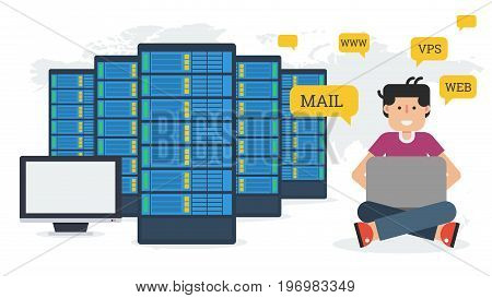 Long vector banner - Web hosting administration. Man with computer and server in flat style