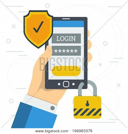 Vector flat illustration of hand with smart phone. On the screen form for entering login and password and safety shield and lock. Concept of safe mobile payment or using personal account in internet