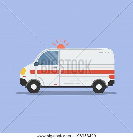 Vector illustration. Square flat medical icon. Emergency ambulance vehicle