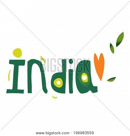 India country name lettering, hand written comic typescript, cartoon vector illustration isolated on white background. India word in letters of variable form and size, lettering, typescript, font