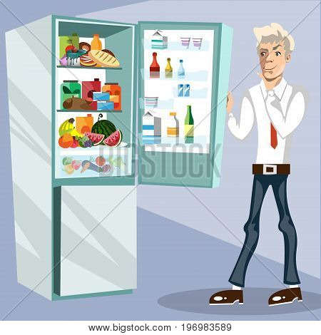 The man next to the fridge. Vector illustration