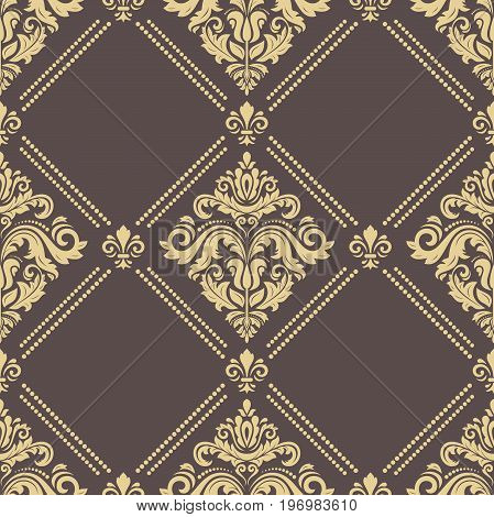 Classic seamless vector pattern. Traditional orient brown and golden ornament. Classic vintage background