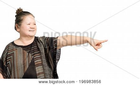Portrait Of A Mature Woman Pointed The Finger To The Right Side. Isolated On White Background With C
