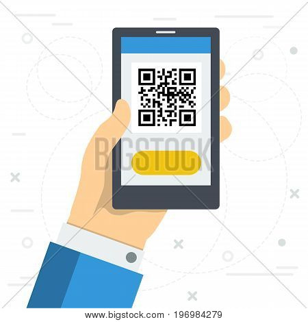 Vector square illustration in flat style. Hand with phone using QR code scanner. Concept of easy access to web sites