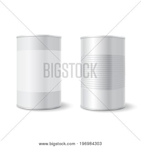 Metal tin can, Tincan Ribbed Canned food. Mock up. Product Packing Vector