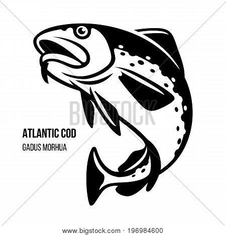 Atlantic Cod fish. Gadus Morhua. Black outline vector illustration