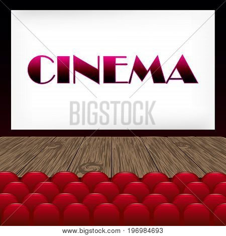 Vector realistic illustration of a movie theater. Hall of cinema with seats, screen, wooden floor.