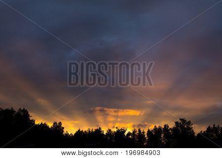 Evening Sky With Golden Sunrays