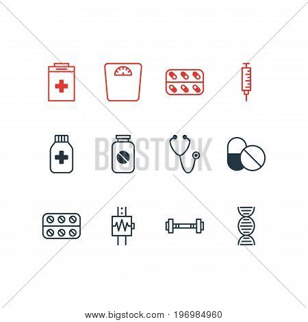 Editable Pack Of Weighing, Dumbbell, Exigency And Other Elements.  Vector Illustration Of 12 Medical Icons.